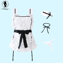 Buy ALINRY Sexy Lingerie Hot Women White Lace Maid Uniform Erotic Underwear Sleepwear Transparent Temptation Cosplay Sexy Costumes