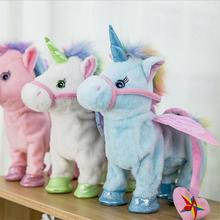 Cute Unicorn Leash Flying Horse Doll Can Walk Can Sing Electric Dragon Horse Plush Doll For Poni Unicorn Horse Plush Toy(China)