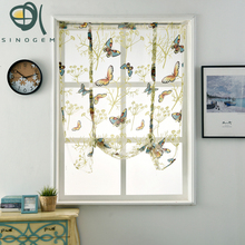 Sinogem Kitchen short sheer curtains burnout roman blinds butterfly sheer panel tulle window treatment door curtains home decor(China)