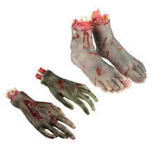 Horror Scary Broken Feet Blood Horror Broken Hand Halloween Decoration Severed Latex Bloody Fake Feet Novelty JK1160(China)