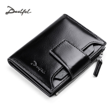 DEELFEL Genuine Leather Men Wallets Short Coin Purse Small Vintage Wallet Cowhide Leather Card Holder Pocket Purse Men Wallets(China)