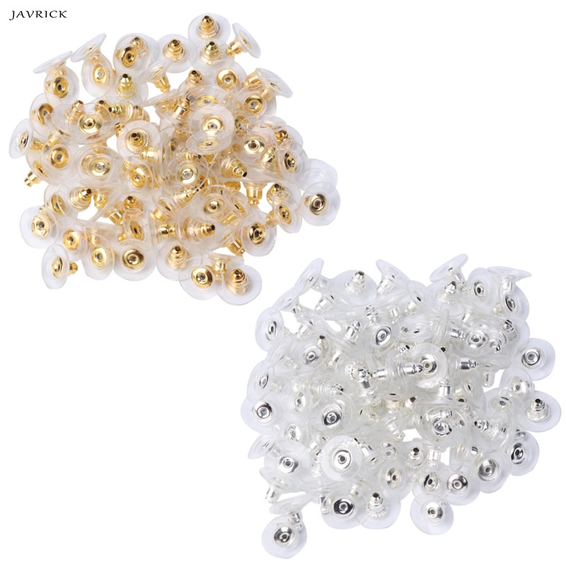 50 x Silver Plated Plastic Bullet Earring Backs With Clear Pads Hypoallergenic