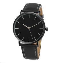 2016 Black Simple Fashion Clock Quartz Watch Men Famous Brand sport Leather Band Wrist Watches Casual Luxury 2016 Hot Sale reloj(China)