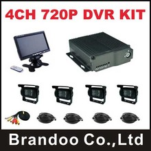 For car,truck,bus use,4CH 720P mobile DVR Kit with 4pcs waterproof IR AHD camera and 1pcs 7.0inch monitor,4pcs AVC calbe(China)