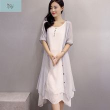 2017 Summer New Women Fashion Half-sleeved O-neck Cotton and Linen Loose Solid Dress + Women Cappa Two-piece Suit 9313#