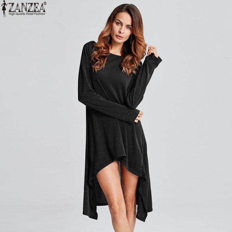 ZANZEA Winter Sweater Dress Vestidos 18 Women Ladies Knitted Casual Long Sleeve Asymmetric Hem Mid-calf Dresses Plus Size 3XL 13