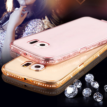 Hot!Fashion Bling Glitter Diamond Ultra Thin silicone Clear Case For Samsung S7 S6 Edge plus S5/4 Note 5/4 A9 A8 A710 A510 J7 J5