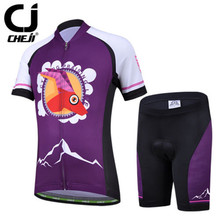 CHEJI Antelope Girls' Cycling Clothing Set Kids Bike Bicycle Jersey & Shorts Kit MTB Sportswear Protective Pad Cycle Suit