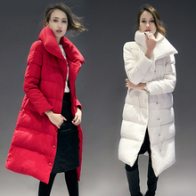 2017 New Promotion Fashion Slim Waist Women's Plus Size Winter Medium-long White Down Coat Female Long Over-the-knee Thickening