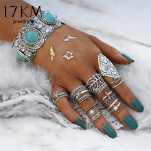 17KM Vintage Hollow Flower Leaf Knuckle Midi Rings Sets For Woman Ring Stone Anillos Punk Bohemia Statement Jewelry 18Pcs/Set(China)