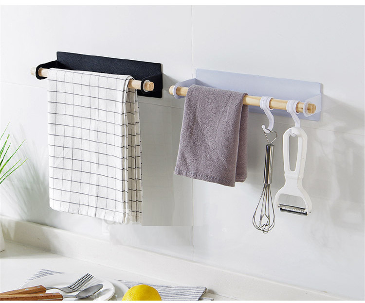 HOT Paste Wrapped Towel Bar Free Punching Iron Towel Rack Kitchen Wipes Rack Towel Shelf 2