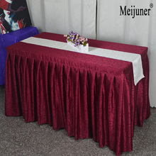 Meijuner High Quality 1PC Red Tablecloth Fitted Pleated Table Skirt of Wedding Banquet Party Hotel Table Decoration