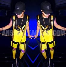 M-5XL!!!A male singer with money Popular logo hip-hop letters buiter gallus vest stage costumes suit(China)