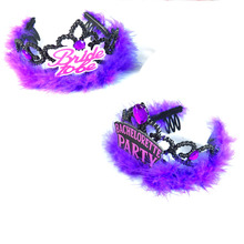 Bachelorette bride to be tiara 50% off for 3pcs purple feather headband hair accessories hen party wedding event party supplies