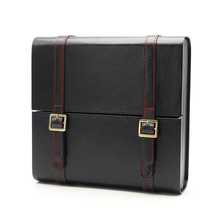 Black Business Briefcase Design Cigar Humidor Travel Portable Cigarette Cigars Case Box With Humidifier(China)