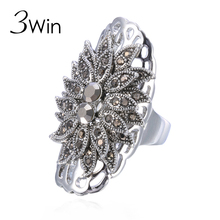 WinWinWin Thai Silver Long Rings Vintage Crystal Antique Jewelry Retro Statement Mirror Glossy Flower Rings Female Aneis Bijoux