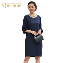 Queenus Women Day Dress 2017 Autumn O-Neck Lantern Sleeve PatchWork Elegant Lady Dress OL Work Party Women Dresses Free Shipping
