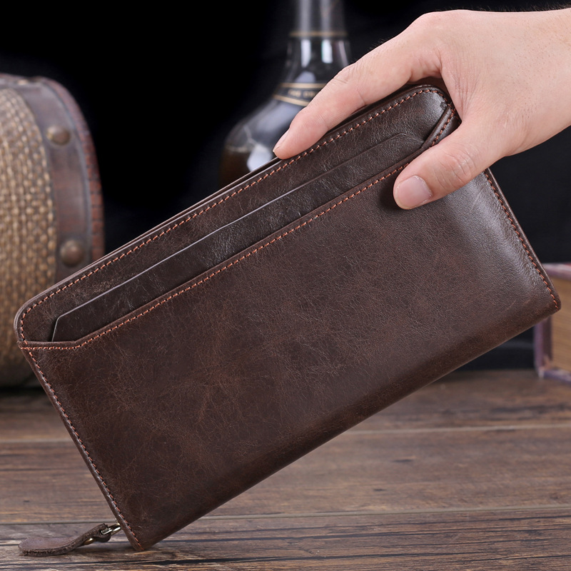 Misfits Vintage Mens Genuine Leather Wallet Male 100% Real Cow Skin Retro Zipper Clutch For Phone Card Holder Purse MZ4044<br><br>Aliexpress