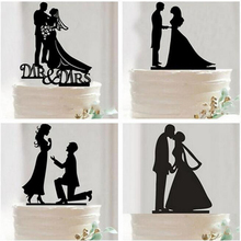 Cupcake Tronzo Mr Mrs Acrylic Black Toppers Tronzo Wedding Cake Topper Romantic Bride Groom For Wedding Decoration Theme Party