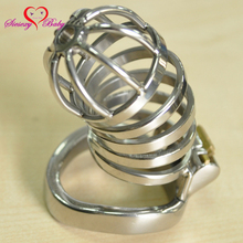 Buy 40mm 45mm 50mm Penis Ring Stainless Steel Penis Cage Chastity Device Lock Cock Cage Male Chastity Sex Toys Adult Game A276
