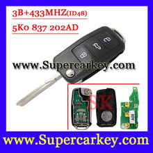 Free shipping After market 5K0 837 202AD 3 button Remote key 433MHz ID48 Chip for VW  GOLF PASSAT Tiguan Polo Jetta Beetle (1pc)