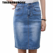 THENANBURONE Women Pencil Skirt High Waist Denim Skirts Long Vintage bodycon Skirts New 2017 Summer Woman Cowboy Jeans Skirt