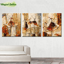 Three spell DIY digital oil paintings abstract paintings by number hand painted picture for home wall decoration ballet dancer(China)