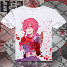 Anime Future Diary T Shirt men Mirai Nikki Short Sleeve Cartoon Gasai Yuno T-Shirt Cosplay Costume Clothing Free Shipping XD-025