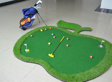2017 New Factory Wholesale Indoor Outdoor Apple Putting Green Mini Golf Putting Mat with Free Golf Tee/Ball for Kids Fun(China)