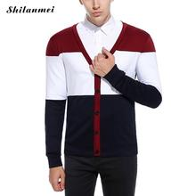 Autumn Black Brand Men Sweater Knitted Striped Slim Fit Navy Blue Signle Breasted Cardigan V-Neck Casual 2017 Mens Sweaters(China)
