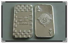 2013 New Design .999 pure solid silver 1gram Ace of Spade card Bullion Bars, souvenir coins 10pcs/lot,Free shipping(China)