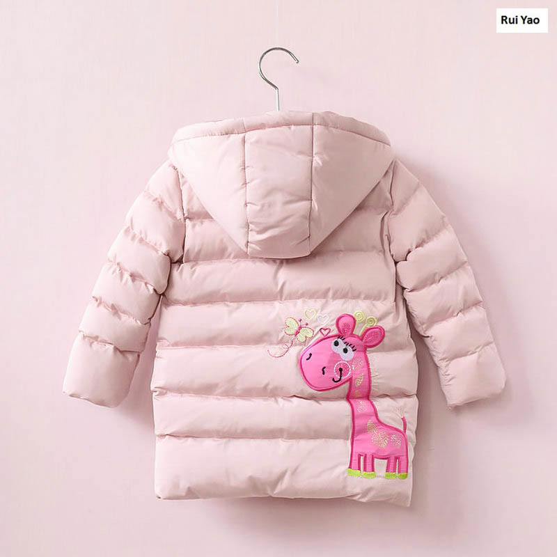 YB3184598585 2017 New Winter Baby Girl Jacket Hooded Girl Coat Worm Embroidery Animal Girl Outerwear Fashion Girls Clothes <br>