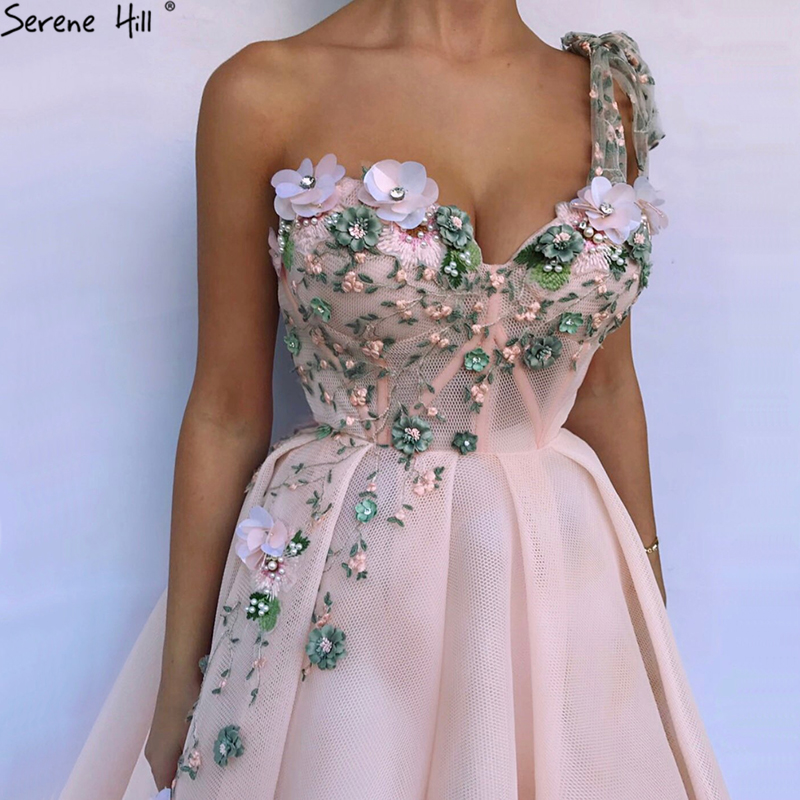 2019 One Shoulder Handmade Flowers Evening Dresses Party Long Formal Dress Real Picture Robe De Soiree Serenehill BLA6512(China)