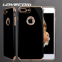 LOVECOM For iPhone 7 7 Plus Case Electroplating Soft TPU Anti Shock Mobile Phone Cases Bright Black Back Cover Top Qualiuty