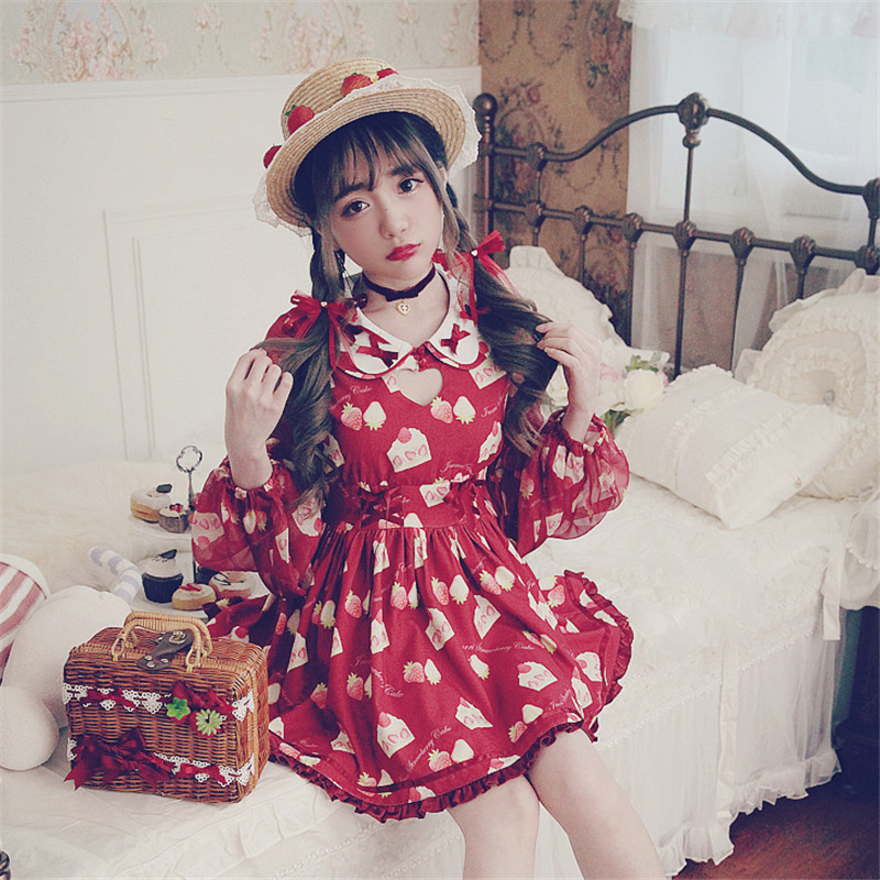 KEQI Bobon21 Princess sweet lolita style cute girls ' favourite Strawberry Cake love doll hollow sleeve Chiffon Dress D1457