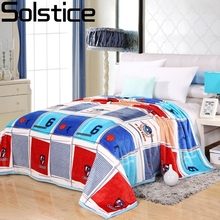 Solstlce Brand Bedding Fashionable Blue Lattice Basketball Flannel Blanket For Sofa Bed Plush  Fluffy Coral Cashmere Blankets