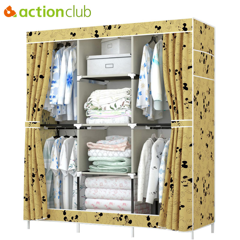 Actionclub Waterproof Oxford Cloth Wardrobe Closet Folding Fabric Clothes Toys Storage Multifunction Cabinet Bedroom Furniture<br>
