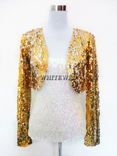 Cheap Sequin Special Occasion Bolero Evening Entertainer Stage Dance Costume Tops Clothing Jackets Wear for Musicians Women