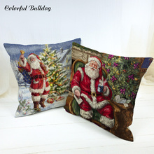 Decorative Pillows For Home Sofa Car Seat Santa Claus Christmas Tree Christmas Present Dog Wolf Deer Animals Cushion Cover Brand(China)