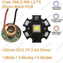 10W Cree XM-L2 T6 XML2 T6 LED Light 20mm Black PCB White Warm White Neutral White + 22mm 5 Modes Driver For DIY Torch Flashlight