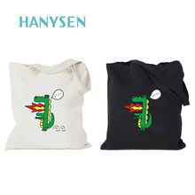 HANYSEN 2017 Hot Sale Summer Funny Crocodile Printing Casual Totes Zipper Canvas School Bags Large Fresh Art Model Shopping Bags