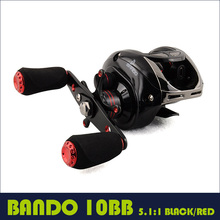 Fishing baitcasting reel 9BB+1RB low profile baitcaster 5.1:1 water drop wheel BLACK RED metal lure reel(China)