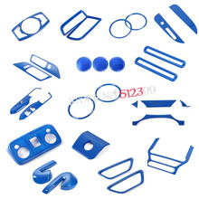 Left Hand Drive 35pcs Blue Interior Accessories Whole Kit Cover Trims Car styling For Ford Mustang 2015 2016 2017(China)