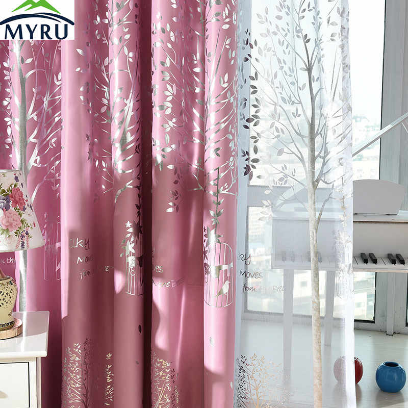 MYRU Mediterranean navy  cloth curtains rural silver trees printed blackout curtians pink curtain green curtain for living room