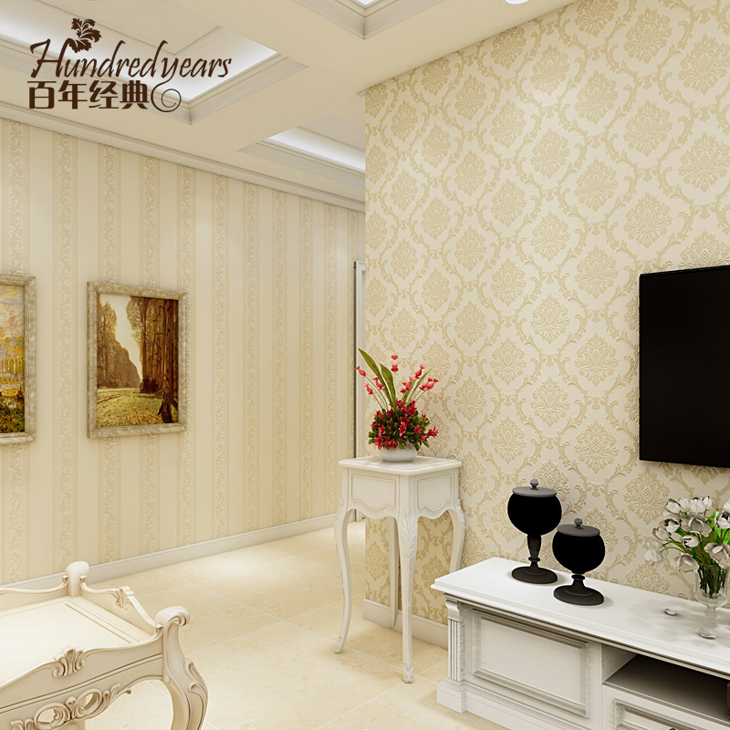 European palace elegant striped wallpaper bedroom living room fashion 3d luxury Damascus wallpapers air non-woven TV wall roll<br>