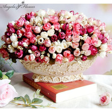 Autumn 15 heads/bouquet small bud roses bract simulation flowers silk rose decorative Flowers Home decorations for Wedding(China)