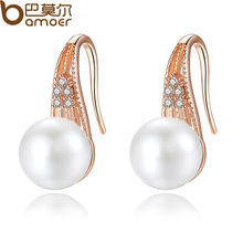 Buy BAMOER Classic Gold Color Imitation Pearl Drop Earrings AAA Zircon Christmas Gift Jewelry JIE056 for $3.42 in AliExpress store