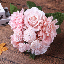 Silk flower wedding bouquet roses dahlias Artificial flowers fall vivid fake leaf wedding flower bridal bouquets decoration