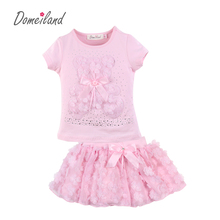 2018 New Summer Fashion Brand DomeilLand Children Clothing sets 2pcs cute girl cotton bear T-shirt baby kids Skirt Outfits(China)
