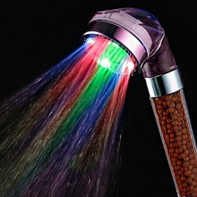 Crystal led hand shower head led Tourmaline SPA Anion shower ducha chuveiro led shower head lighting bathroom anion spa shower(China)